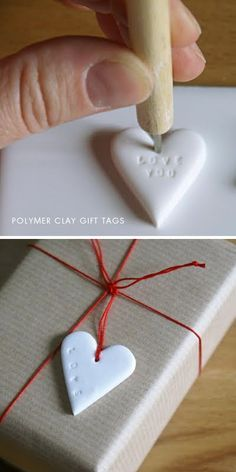 DIY - Polymer Clay Gift Tag step-by-step tutorial.- DIY – Polymer Clay Gift Tag step-by-step tutorial. Beautiful personalized gift t… DIY – Polymer Clay Gift Tag step-by-step tutorial. Fimo Clay, Polymer Clay Projects, Polymer Clay Ornaments, Polymer Clay Christmas, Clay Christmas Decorations, Christmas Crafts, Christmas Wrapping, Christmas Ornament, Craft Gifts