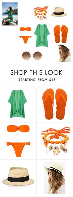 """dia de praia"" by dianagiestas ❤ liked on Polyvore featuring Havaianas, Accessory PLAYS, Eugenia Kim, LULUS and Victoria Beckham"
