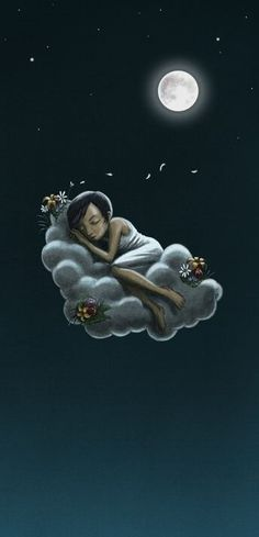 sleeping on a cloud under the moonlight.