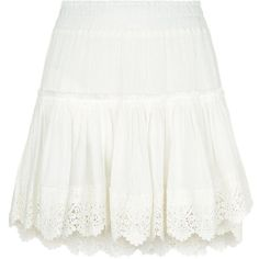 Misa Clemence Embroidered Mini Skirt ($260) ❤ liked on Polyvore featuring skirts, mini skirts, bohemian skirts, white lace mini skirt, short lace skirt, tiered skirt and white beach skirt
