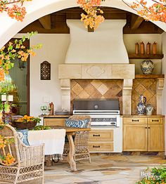 Get inspired to add a gorgeous kitchen and entertaining space in your backyard with these fabulous decorating ideas. These are our best ideas for getting the outdoor living space of your dreams, which can include kitchen appliances like a sink and a refrigerator.