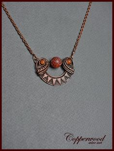 Copper wire wrapped pendant Agate necklace Wire wrapped