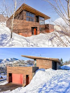 16 Examples Of Modern Houses With A Sloped Roof | The sloped roof on this modern house is angled backwards to maximize natural light inside while enabling snow and rain to drain off at the back.