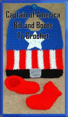 Captain of America Bib and Bootie Crochet Pattern-INSTAND | Etsy Crochet Baby Costumes, Crochet Baby Bibs, Crochet Baby Clothes, Crochet Hooks, Free Crochet, Baby Bibs Patterns, Crochet Patterns, Double Crochet, Single Crochet