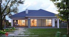 E-119 Przestronny dom parterowy z 4 sypialniami - E-DOMY.pl Projekty domów jednorodzinnych, piętrowych, energooszczędnych.