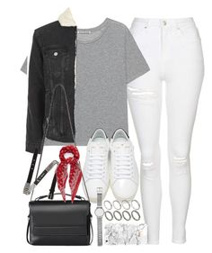 """Outfit with white ripped jeans and denim jacket"" by ferned ❤ liked on Polyvore featuring Topshop, Acne Studios, Yves Saint Laurent, AllSaints, McQ by Alexander McQueen, ASOS and Witchery"