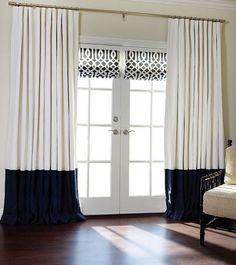 Pair off white and navy blue color block linen drapes, linen colorblock curtains, linen panels, colorblock drapes,