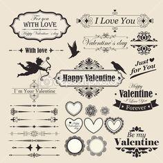Valentine`s Day vintage design elements and letterning.