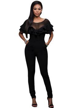 Black Mesh Insert Double Ruffle Jumpsuit