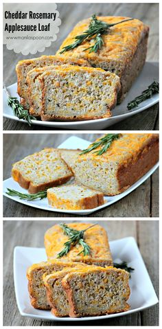 CHEDDAR ROSEMARY & APPLESAUCE LOAF - this bread is super-moist and truly delicious! The applesauce adds a very subtle hint of sweetness and provides moisture to this yummy bread. I hope you try it soon! It's a great bread to snack on with your favorite tea or have it with your favorite soup! #cheesebread #cheddarrosemaryandapplesaucebread #applesaucebread