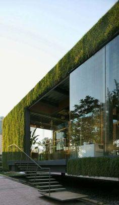 48 ideas house facade design green life Source by Architecture Cool, Landscape Architecture Design, Organic Architecture, Container Architecture, Roof Design, Facade Design, Exterior Design, Green Life, Architecture Organique