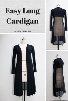Free Pattern and Tutorial. Easy Long Cardigan with sheer back or not. Ladies sizes 8 - 22. From So Sew Easy.