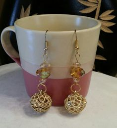 Gold bling open circles balls with topaz roundell beads.
