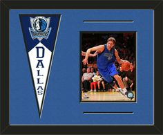 One framed 8 x 10 inch Dallas Mavericks photo of Dirk Nowitzki with a Dallas Mavericks mini felt banner, double matted in team colors to 20 x 16 inches.  The lines show the bottom mat color.  (Pennant design subject to change)   $79.99 @ ArtandMore.com