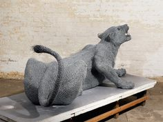"""Contemporary artist Kendra Haste creates realistic animal sculptures working with the medium of galvanized wire. """"What interests me most about studying animals is identifying the… Outdoor Sculpture, Outdoor Art, Abstract Sculpture, Sculpture Art, Garden Sculpture, Stuffed Animal Patterns, Dinosaur Stuffed Animal, Victorian Bulldog, Animal Sculptures"""