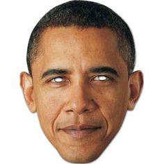 """Laadukas ja täysin aidon näköinen valokuvasta tehty pahvinen muotoon leikattu """"Barack Obama"""" naamio silmäaukoilla ja joustavalla kiinnitysnarulla. Koko noin 28cm x 20cm."""