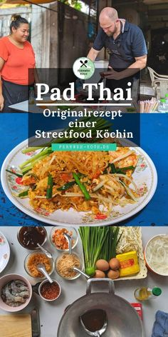 Pad Thai is one of the best-known dishes found on every street corner in Thailand. Shrimp, pasta, vegetables and a delicious sauce make the Pad Thai a very popular street food. This is the original recipe for Pad Thai by Steetfood cook Piwmiu from Bangkok Thai Recipes, Asian Recipes, Dinner Recipes, Noodles Pad Thai, Shrimp Noodles, Shrimp Pasta, Pad Thai Receta, Cook Pad, Cook Cook