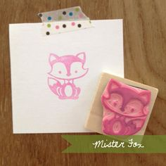 Hand Carved Mister Fox Rubber Stamp. $9.00, via Etsy.