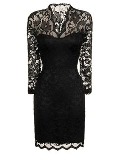 Not the cheapest dress I've seen... but, it looks beautiful and sophisticated. So, for a formal event, $69 isn't too bad. Dorothy Perkins - Black lace bodycon dress