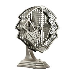 Art Deco Table Top Fan in Satin Nickel Finish
