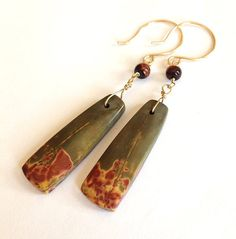 Red tigers eye and agate earrings by Sheny