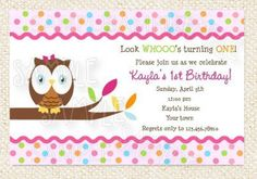 Owl look whoo's turning 1 birthday party by LollipopPrints on Etsy. , via Etsy.