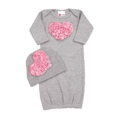 This Bundle of Love Pink Heart Newborn Sleeper Set by Lollipop Moon is the perfect outfit to bring your baby girl home from the hospital. This gorgeous newborn set includes a soft cotton grey sleeper with beautiful tiny rosettes in the shape of a heart across the chest and matching baby cap. A baby gift that will out shine all others. $54 | Life what you see? Check it out here http://www.mommycouturedesigns.com/item_2993/Bundle-of-Love-Pink-Heart-Newborn-Sleeper-Set.htm