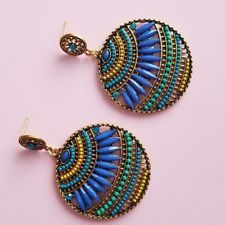 Blue Green Boho Bohemian Beaded Round Drop Dangle Earrings Fashion Trendy