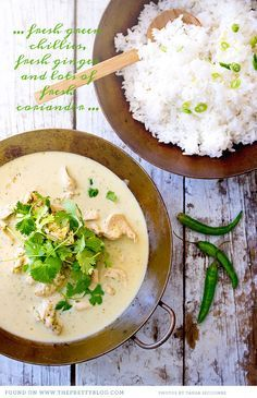 Thai Green Chicken Curry: Try this served over riced cauliflower...this is my favorite curry, sweet & hot with lots of delicious sauce to be soaked up by whatever you're serving it over. You can also thin the sauce a bit and shred the chicken to serve as a chilled soup.