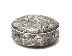 Chinese Incised Lidded Silver Box  Period  6th - 9th Century ADCulture  Chinese, Tang Dynasty