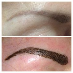 Hair stroke eyebrows to cover and reshape old, faded solid brow tattoo.