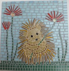 Hedgehog and Poppies Wall Decor, Mixed Media Mosaic Artwork. $195.00, via Etsy.