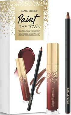bareMinerals Paint The Town Statement Matte Liquid Lipcolor and Under Over Lip Liner Duo Bare Minerals Gift Set, Lip Shapes, Image Skincare, Christmas Gifts For Women, Bareminerals, Lip Liner, Lip Colors, Lips, Beauty Products