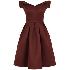 **Chi Chi London Petite Brown Bardot Dress ($79) ❤ liked on Polyvore featuring dresses, vestidos, brown, petite, red dress, petite dresses, petite red dress, chi chi dresses and brown dress
