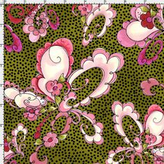 Paisley Floral Olive Fabric Yard