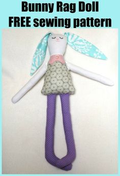 Bunny Rag Doll FREE sewing pattern. Free soft toy to sew for kids. Easy toy seiwng pattern for beginners. Free plushie pattern to sew for kids. Easy rabbit toy sewing pattern free. Doll Patterns Free, Plushie Patterns, Animal Sewing Patterns, Sewing Patterns For Kids, Sewing For Kids, Free Sewing, Free Pattern, Softie Pattern, Sewing Tips