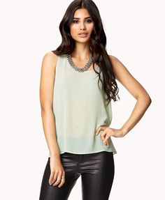 Tie-Back Chiffon Top | FOREVER21 - 2054775146