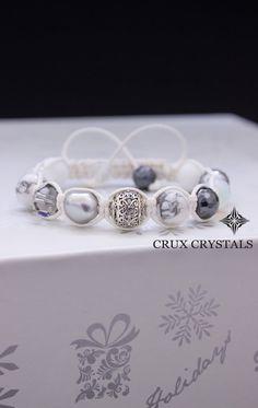 Frozen, White Shamballa Bracelet, Natural Stone, Beaded Bracelet, Swarovski Elements, White Macrame, Howlite, Opal, Hematite, Quarzt