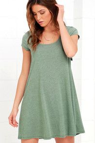 All spotlights will be on you when you wear the Others Follow Make a Splash Sage Green Lace Swing Dress! Sage green knit is soft as ever through a short sleeve bodice with scoop neckline and swing silhouette. Cutout (with a bit of elastic) at back is trimmed in crocheted lace. #CuteDresses #TrendyTops, #FashionShoes #JuniorsClothing
