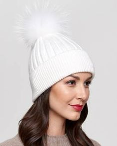 94e906c4 Coco White Rib Knit Beanie with Finn Raccoon Pom Pom Fur Hat World, Winter  Hats