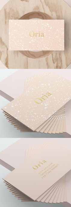 Our new range, Oria, is now available in store. We wanted to bring some fresh, hand-painted elements to this range. We combined splashes of white ink with an elegant serif font and beautiful gold foil text Foil Business Cards, Luxury Business Cards, Elegant Business Cards, Stationery Design, Branding Design, Modelo Logo, Rooms Ideas, Logo Design Inspiration, Business Card Design