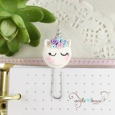 Unicorn Macaron Flower crown Paperclip Planner Clip Bookmark