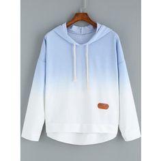 SheIn(sheinside) Blue Ombre Hooded Dip Hem Sweatshirt