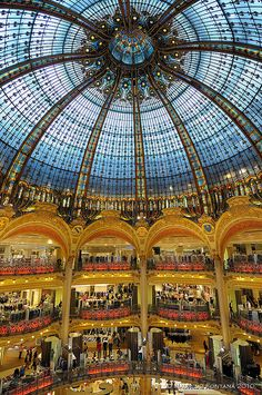 Galeries Lafayette - world's most beautiful department store~It is an upmarket French department store company located on Boulevard Haussmann in the 9th arrondissement of Paris
