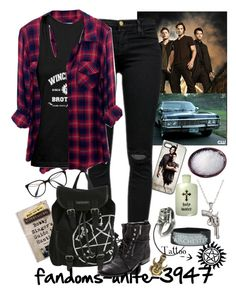 """Supernatural Nerd"" by fandoms-unite-3947 ❤ liked on Polyvore featuring Calibro 12, La Preciosa, Rails, Miguelina, Victoria Beckham, J Brand and Sam Edelman"