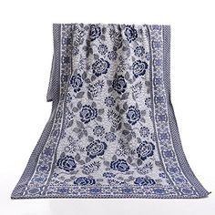 Amazon.com: ANswet Hand Jacquare Throw Blanket Classial Ultra Plush Luxury By Home Fashion Designs 220cm x 240cm (blue): Home & Kitchen