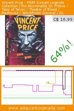 Vincent Price - MGM Scream Legends Collection (The Abominable Dr. Phibes / Tales of Terror / Theater of Blood / Madhouse / Witchfinder General / Dr. Phibes Rises Again / Twice Told Tales) (5DVD) (DVD). Drop 64%! Current price C$ 16.99, the previous price was C$ 46.99. https://www.adquisitiocanada.com/mgm-canada/vincent-price-mgm-scream