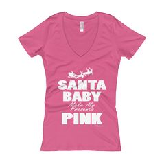 Everyday is a new day to Wake. The ring-spun cotton and polyester blend give this v-neck tee an easy-breezy feel Games For Moms, How To Make Sandwich, Baby Makes, Santa Baby, Pink Gifts, Pink Dress, V Neck T Shirt, T Shirts For Women, Tees