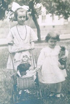 Young Girls with Dolls Early 1900's Antique Photo