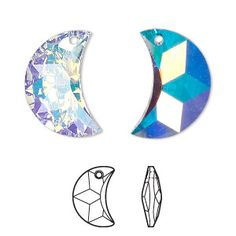 Drop, Swarovski® crystals, crystal AB, 20x12mm faceted moon pendant (6722). Sold per pkg of 48.